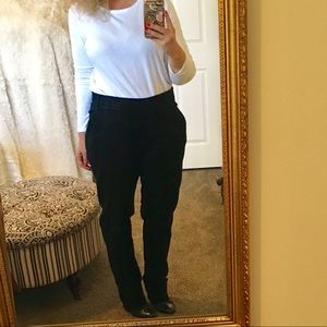 Tibi Black Velvet Straight Leg Trousers Pockets